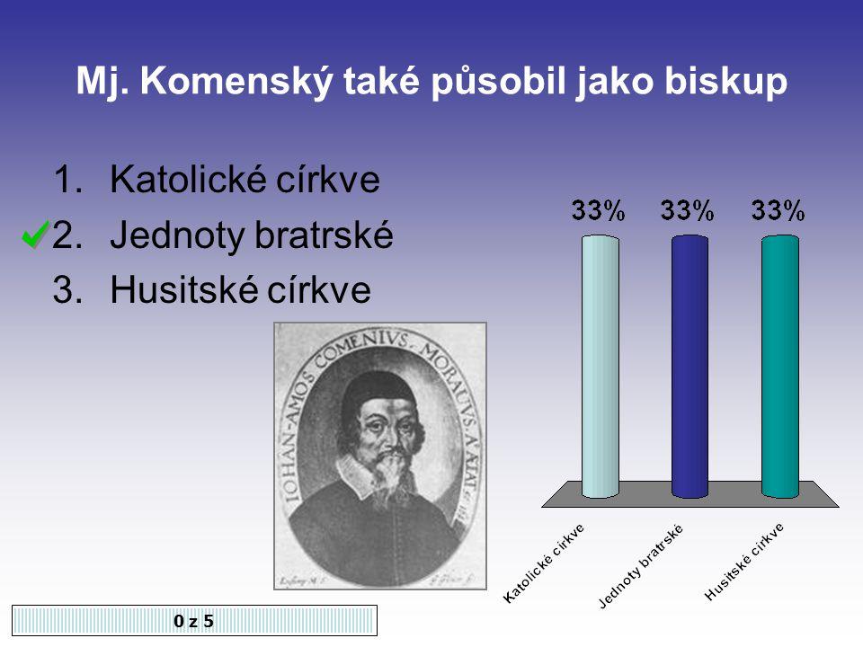 Mj. Komenský také působil jako biskup 0 z 5 1.Katolické církve 2.Jednoty bratrské 3.Husitské církve
