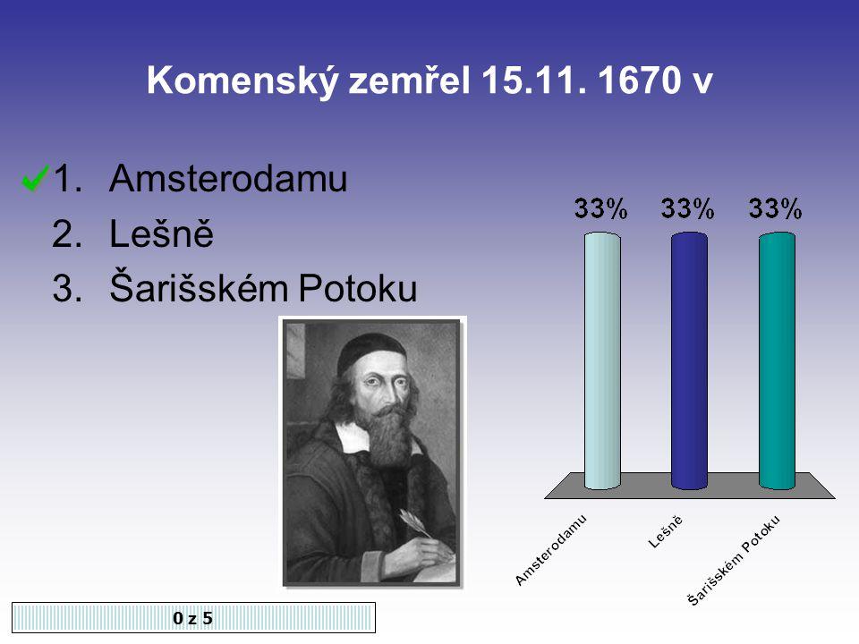Komenský zemřel 15.11. 1670 v 0 z 5 1.Amsterodamu 2.Lešně 3.Šarišském Potoku