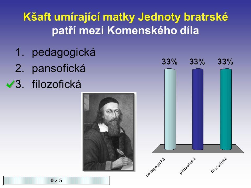 Kšaft umírající matky Jednoty bratrské patří mezi Komenského díla 0 z 5 1.pedagogická 2.pansofická 3.filozofická