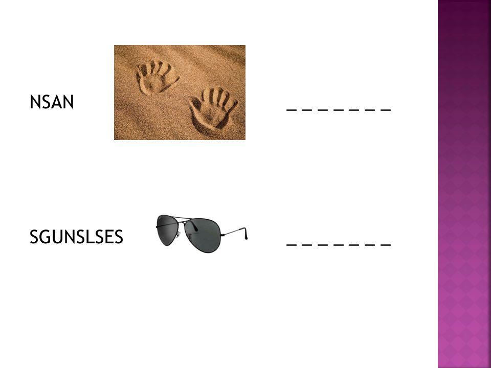  1) a tent  2) a sea  3) a swimsuit  4) sand  5) a sunglasses