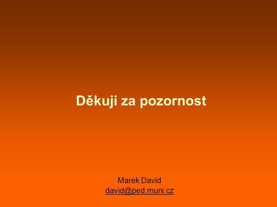 Děkuji za pozornost Marek David david@ped.muni.cz