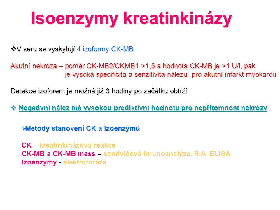 Isoenzymy kreatinkinázy  V séru se vyskytují 4 izoformy CK-MB Akutní nekróza – poměr CK-MB2/CKMB1 >1,5 a hodnota CK-MB je >1 U/l, pak je vysoká speci