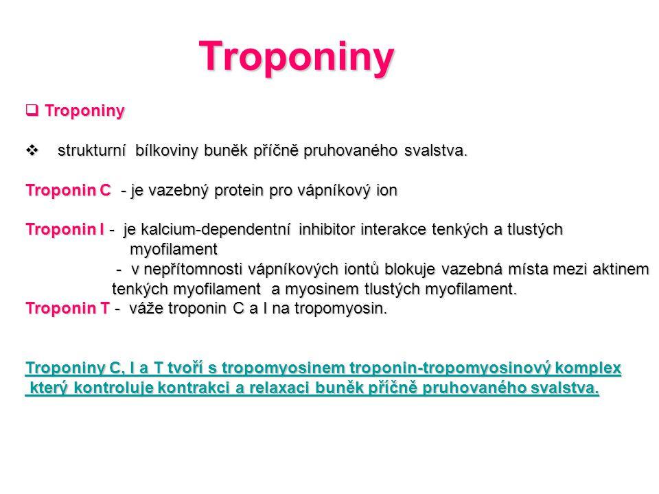 Troponiny  Troponiny  strukturní bílkoviny buněk příčně pruhovaného svalstva. Troponin C - je vazebný protein pro vápníkový ion Troponin I - je kalc