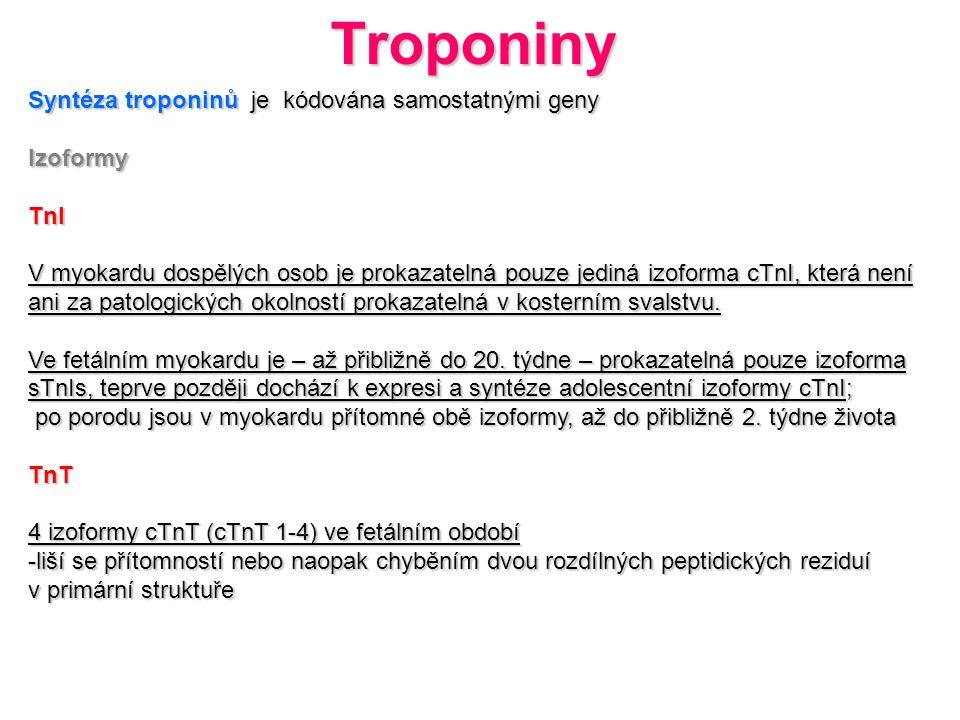 Syntéza troponinů je kódována samostatnými geny IzoformyTnI V myokardu dospělých osob je prokazatelná pouze jediná izoforma cTnI, která není ani za pa