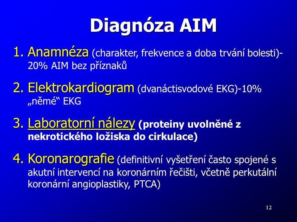 12 Diagnóza AIM 1.Anamnéza 1.Anamnéza (charakter, frekvence a doba trvání bolesti)- 20% AIM bez příznaků 2.Elektrokardiogram 2.Elektrokardiogram (dvan