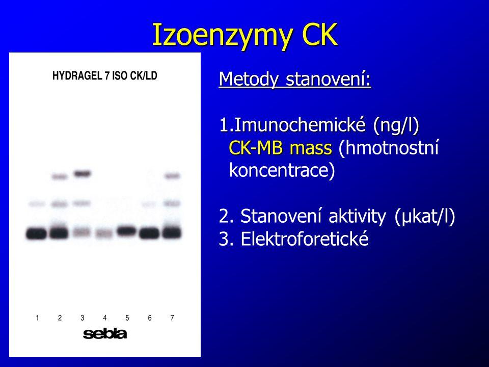Izoenzymy CK Metody stanovení: 1.Imunochemické (ng/l) CK-MB mass CK-MB mass (hmotnostní koncentrace) 2. Stanovení aktivity (μkat/l) 3. Elektroforetick