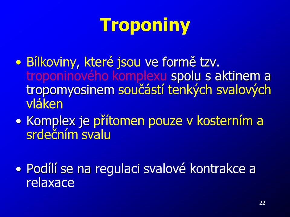22 Troponiny, ve formě tzv. spolu s aktinem a tropomyosinemBílkoviny, které jsou ve formě tzv. troponinového komplexu spolu s aktinem a tropomyosinem