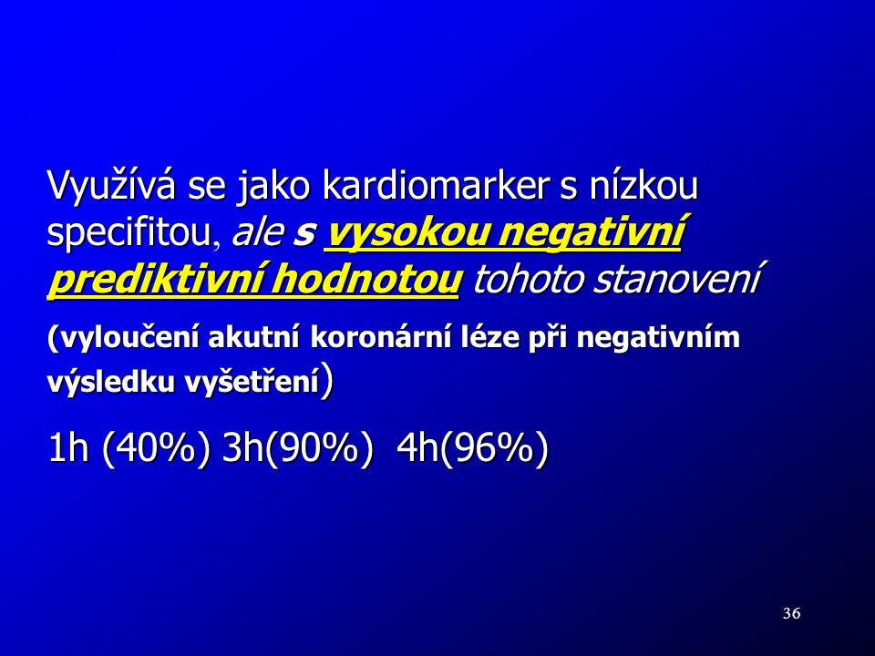 36 Využívá se jako kardiomarker s nízkou specifitouale s vysokou negativní prediktivní hodnotou tohoto stanovení Využívá se jako kardiomarker s nízkou