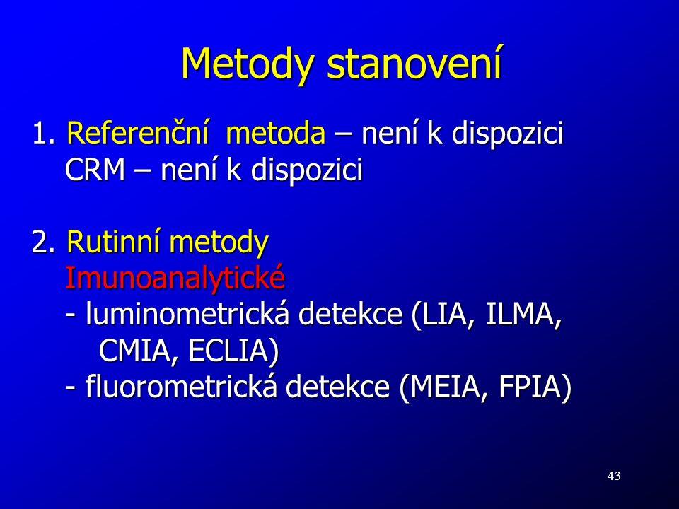 43 Metody stanovení 1. Referenční metoda – není k dispozici CRM – není k dispozici 2. Rutinní metody Imunoanalytické - luminometrická detekce (LIA, IL
