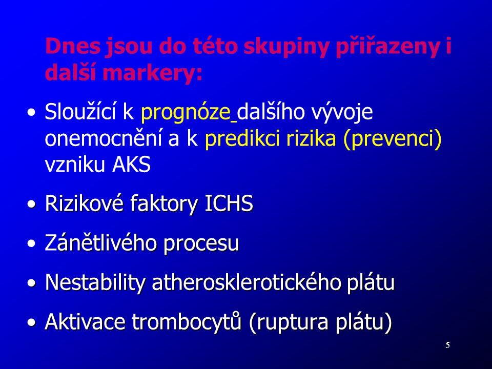 5 Dnes jsou do této skupiny přiřazeny i další markery: Sloužící k prognóze dalšího vývoje onemocnění a k predikci rizika (prevenci) vzniku AKS Rizikov