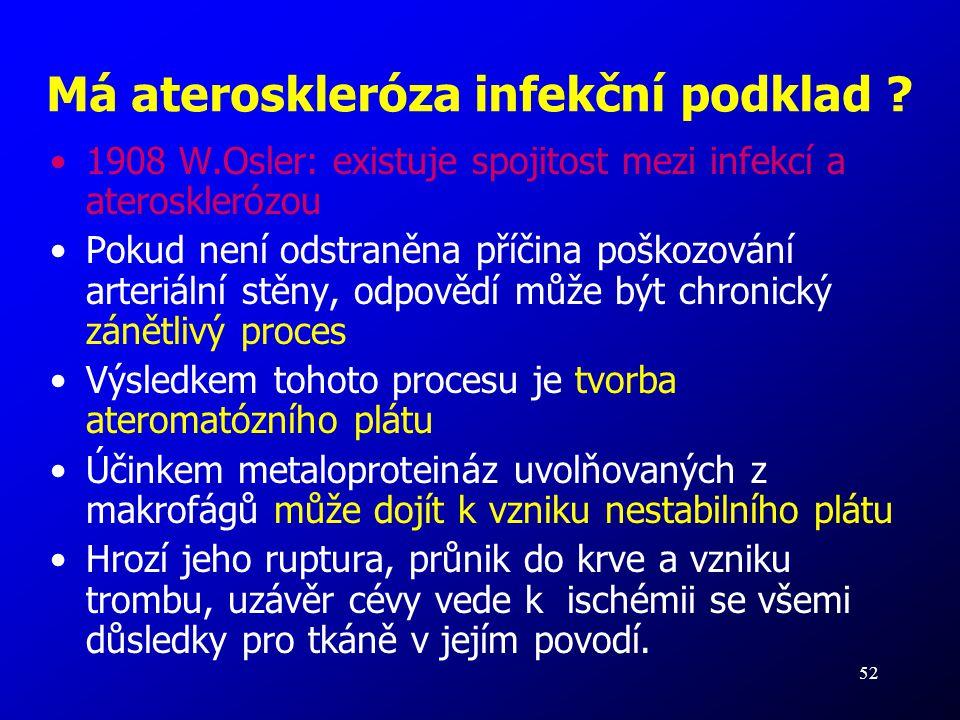 52 Má ateroskleróza infekční podklad ? 1908 W.Osler: existuje spojitost mezi infekcí a aterosklerózou Pokud není odstraněna příčina poškozování arteri