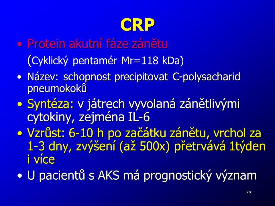 53 CRP Protein akutní fáze zánětuProtein akutní fáze zánětu ( ( Cyklický pentamér Mr=118 kDa) Název: schopnost precipitovat C-polysacharid pneumokokůN