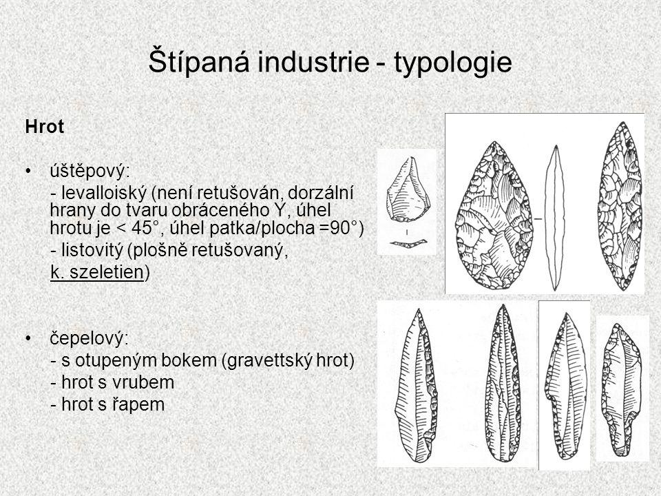 Štípaná industrie - typologie Hrot úštěpový: - levalloiský (není retušován, dorzální hrany do tvaru obráceného Y, úhel hrotu je < 45°, úhel patka/ploc