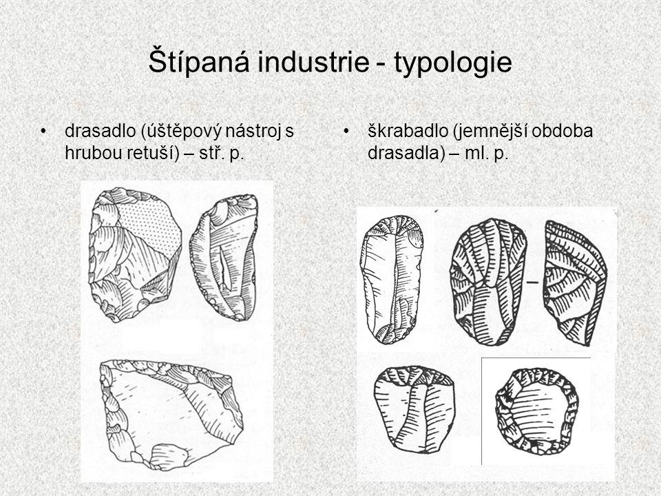 Štípaná industrie - typologie drasadlo (úštěpový nástroj s hrubou retuší) – stř. p. škrabadlo (jemnější obdoba drasadla) – ml. p.