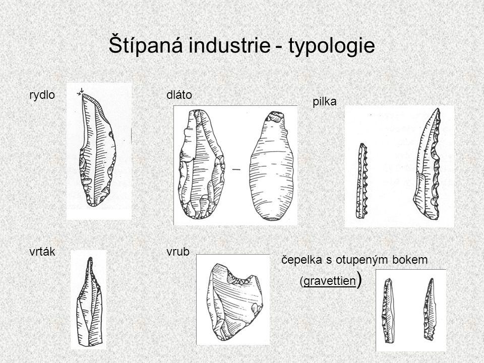 Štípaná industrie - typologie rydlo dláto vrták vrub pilka čepelka s otupeným bokem (gravettien )