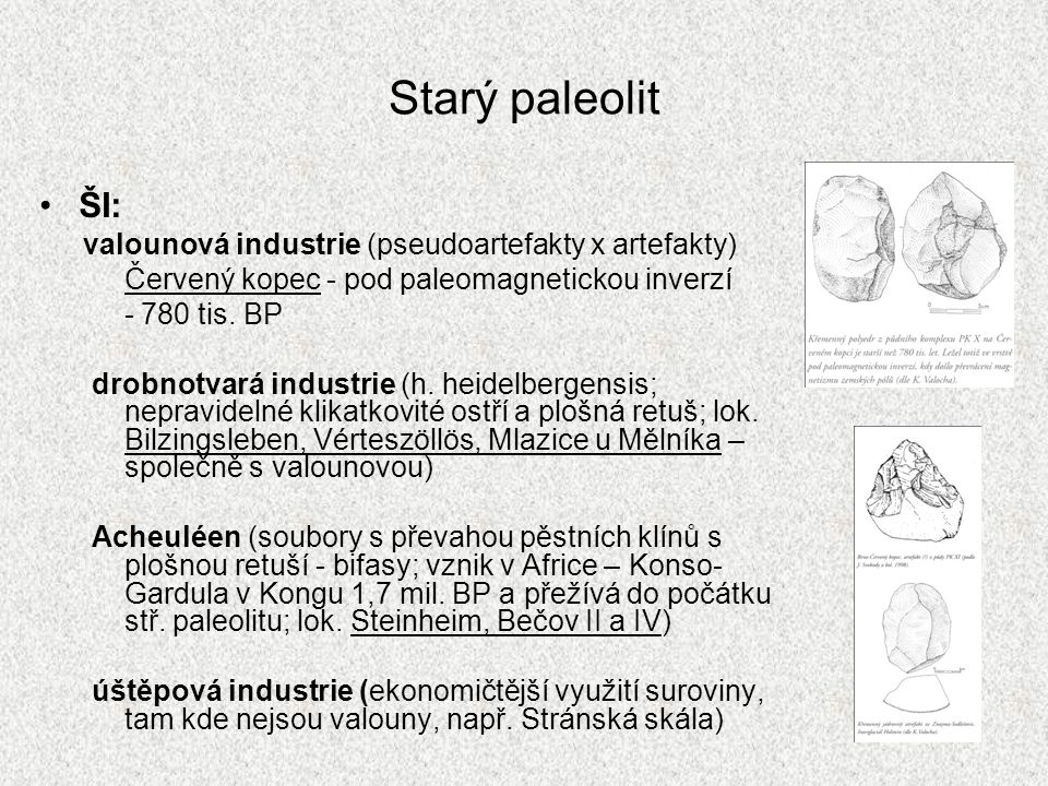 Starý paleolit ŠI: valounová industrie (pseudoartefakty x artefakty) Červený kopec - pod paleomagnetickou inverzí - 780 tis. BP drobnotvará industrie