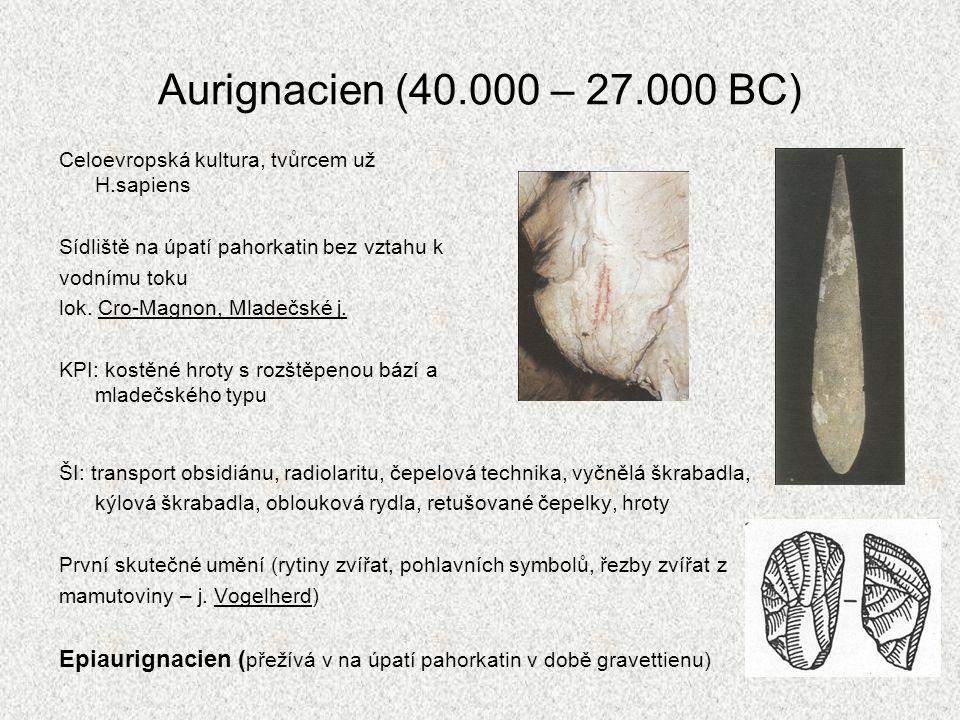 Aurignacien (40.000 – 27.000 BC) Celoevropská kultura, tvůrcem už H.sapiens Sídliště na úpatí pahorkatin bez vztahu k vodnímu toku lok. Cro-Magnon, Ml