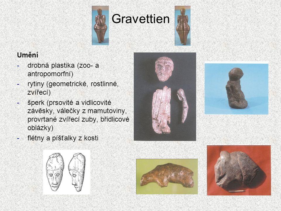 Gravettien Umění -drobná plastika (zoo- a antropomorfní) -rytiny (geometrické, rostlinné, zvířecí) -šperk (prsovité a vidlicovité závěsky, válečky z m