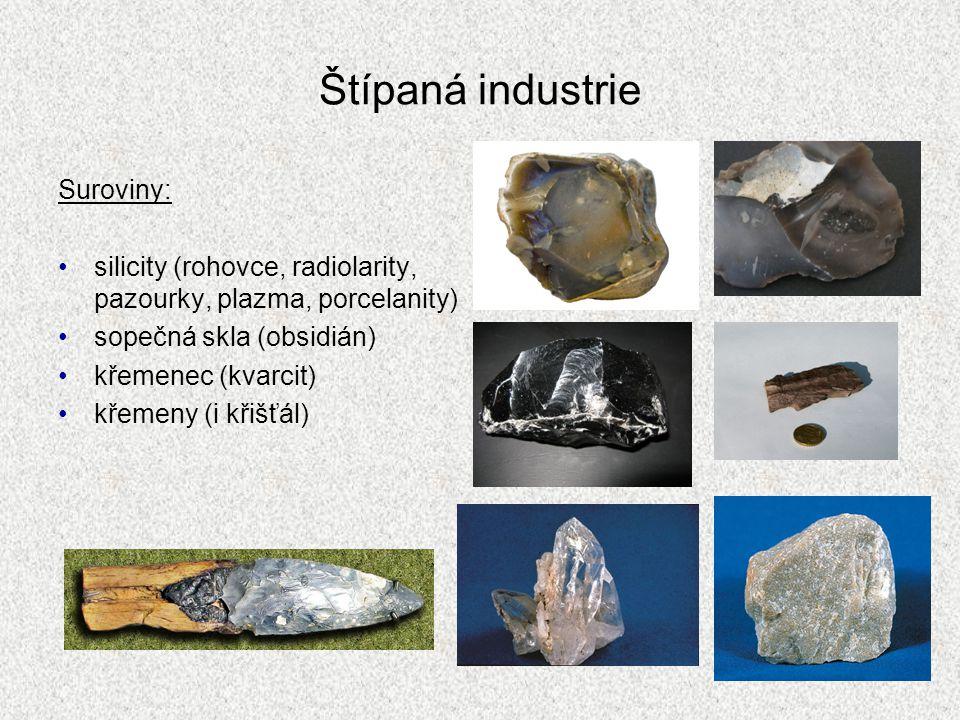 Štípaná industrie Suroviny: silicity (rohovce, radiolarity, pazourky, plazma, porcelanity) sopečná skla (obsidián) křemenec (kvarcit) křemeny (i křišť