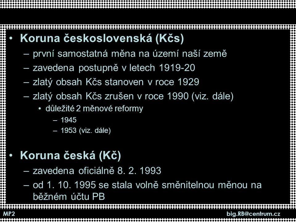 MP2 big.RB@centrum.cz Koruna československá (Kčs) –první samostatná měna na území naší země –zavedena postupně v letech 1919-20 –zlatý obsah Kčs stano