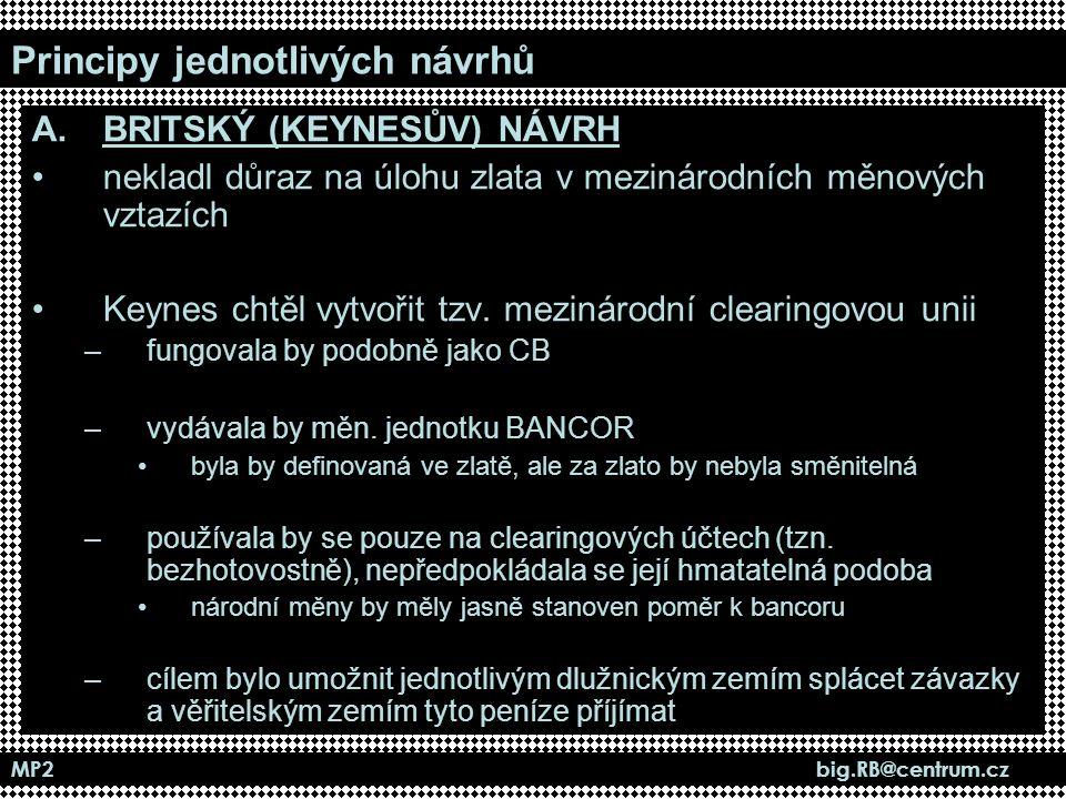 MP2 big.RB@centrum.cz Principy jednotlivých návrhů A.BRITSKÝ (KEYNESŮV) NÁVRH nekladl důraz na úlohu zlata v mezinárodních měnových vztazích Keynes ch