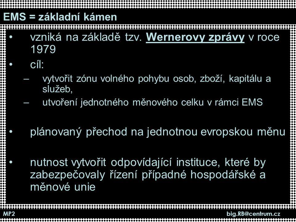 MP2 big.RB@centrum.cz EMS = základní kámen vzniká na základě tzv. Wernerovy zprávy v roce 1979 cíl: –vytvořit zónu volného pohybu osob, zboží, kapitál