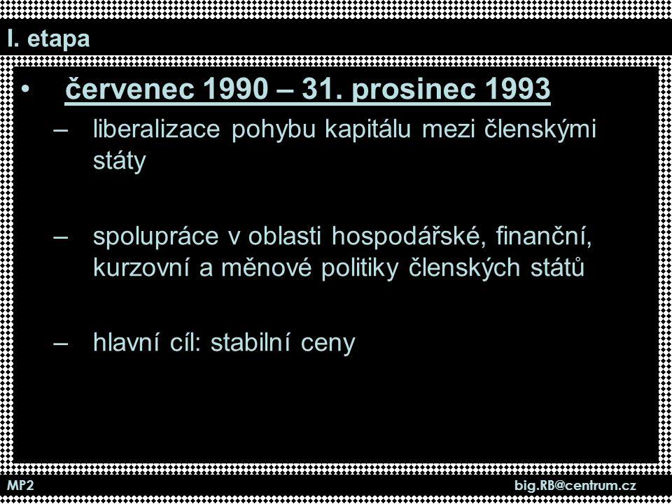 MP2 big.RB@centrum.cz I. etapa červenec 1990 – 31. prosinec 1993 –liberalizace pohybu kapitálu mezi členskými státy –spolupráce v oblasti hospodářské,