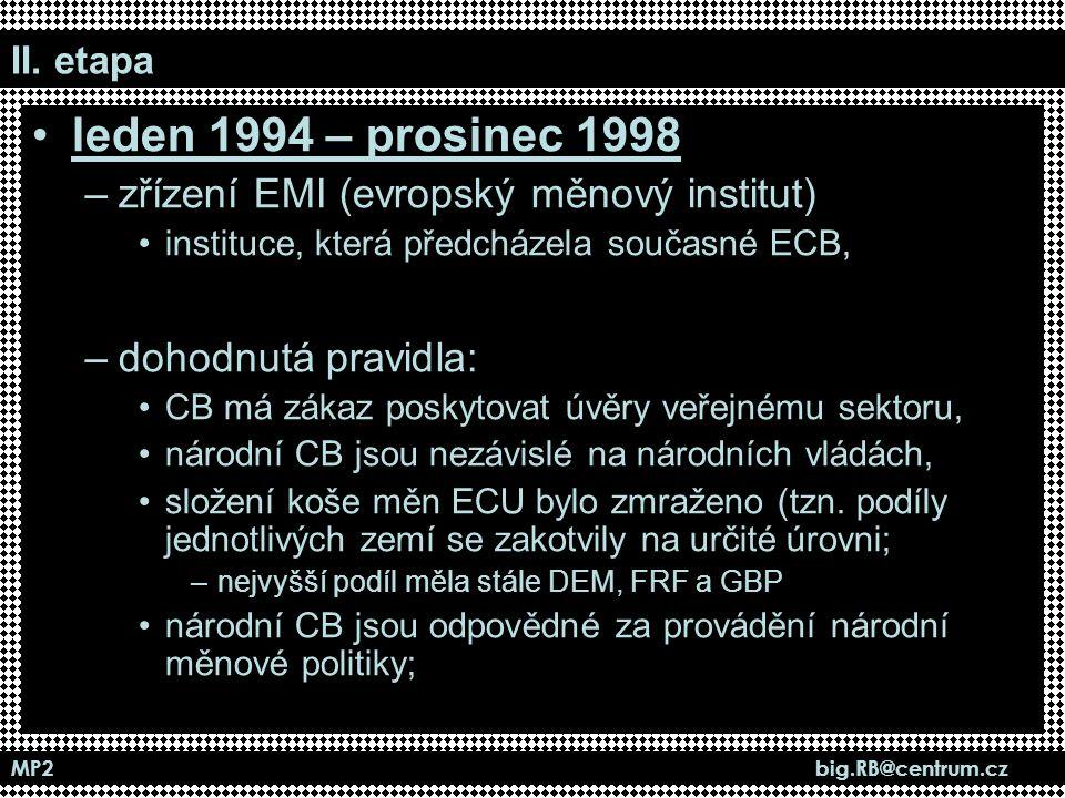 MP2 big.RB@centrum.cz II. etapa leden 1994 – prosinec 1998 –zřízení EMI (evropský měnový institut) instituce, která předcházela současné ECB, –dohodnu