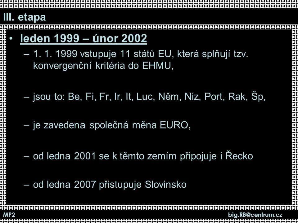 MP2 big.RB@centrum.cz III. etapa leden 1999 – únor 2002 –1. 1. 1999 vstupuje 11 států EU, která splňují tzv. konvergenční kritéria do EHMU, –jsou to: