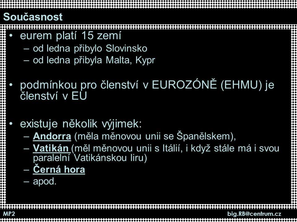 MP2 big.RB@centrum.cz Současnost eurem platí 15 zemí –od ledna přibylo Slovinsko –od ledna přibyla Malta, Kypr podmínkou pro členství v EUROZÓNĚ (EHMU