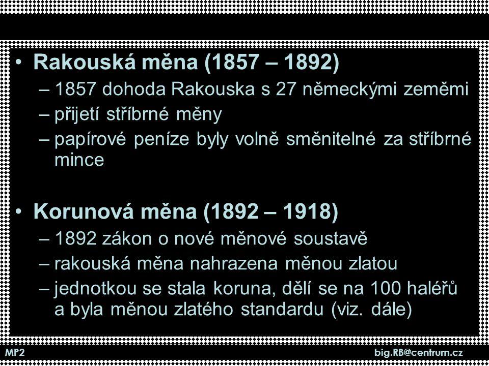 MP2 big.RB@centrum.cz Koruna československá (Kčs) –první samostatná měna na území naší země –zavedena postupně v letech 1919-20 –zlatý obsah Kčs stanoven v roce 1929 –zlatý obsah Kčs zrušen v roce 1990 (viz.