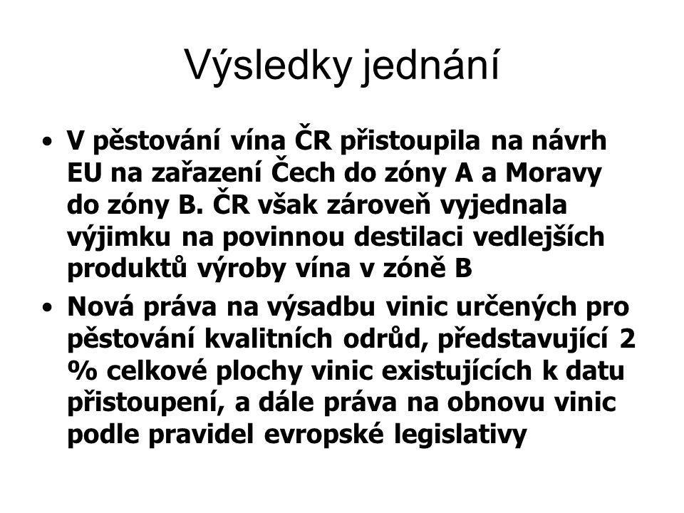 Výsledky jednání V pěstování vína ČR přistoupila na návrh EU na zařazení Čech do zóny A a Moravy do zóny B. ČR však zároveň vyjednala výjimku na povin