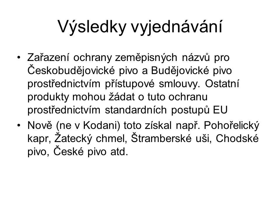 Výsledky vyjednávání Zařazení ochrany zeměpisných názvů pro Českobudějovické pivo a Budějovické pivo prostřednictvím přístupové smlouvy. Ostatní produ