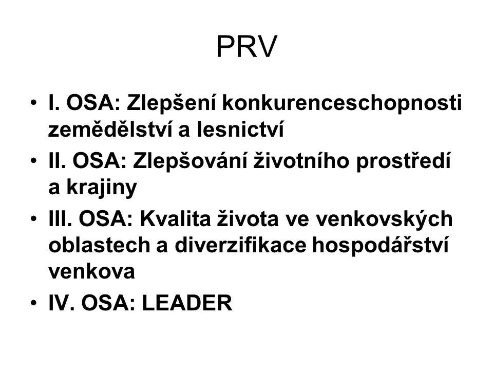 PRV I. OSA: Zlepšení konkurenceschopnosti zemědělství a lesnictví II. OSA: Zlepšování životního prostředí a krajiny III. OSA: Kvalita života ve venkov