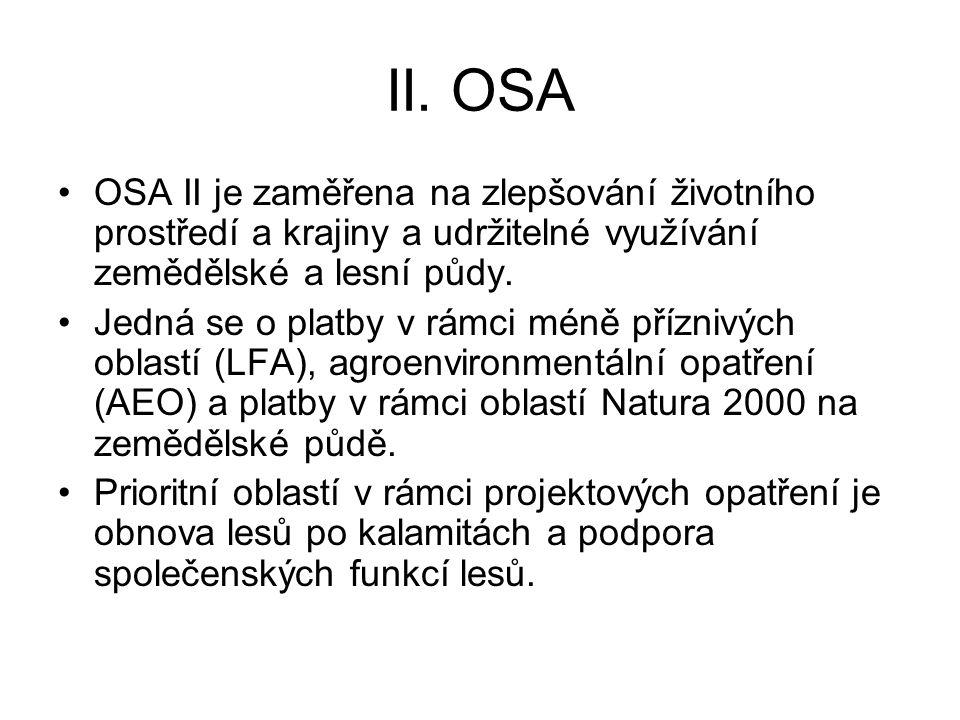 II. OSA OSA II je zaměřena na zlepšování životního prostředí a krajiny a udržitelné využívání zemědělské a lesní půdy. Jedná se o platby v rámci méně