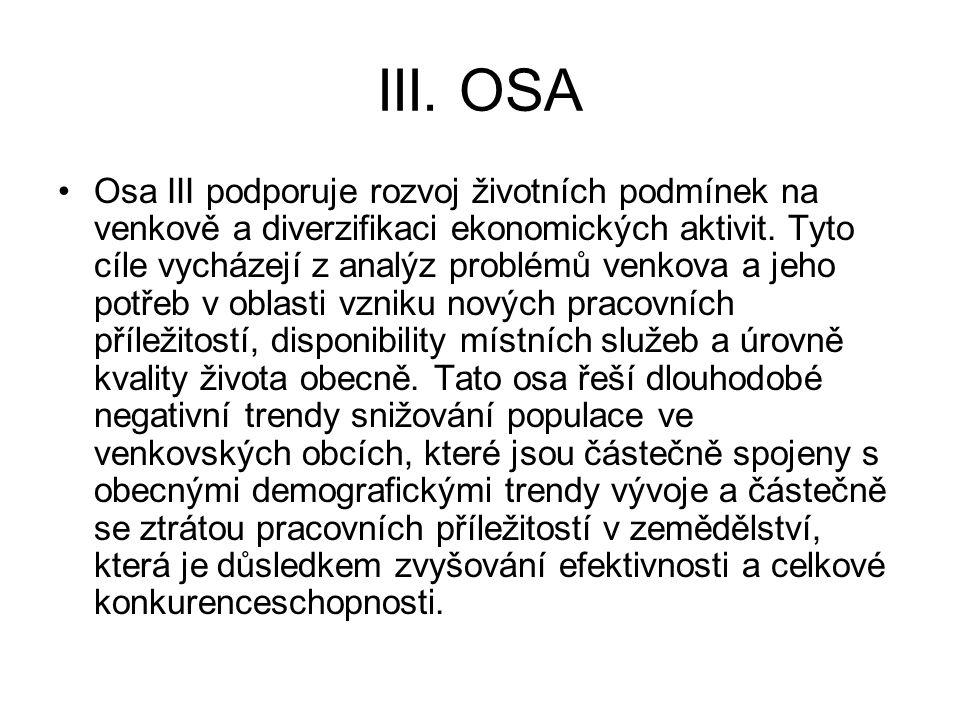 III. OSA Osa III podporuje rozvoj životních podmínek na venkově a diverzifikaci ekonomických aktivit. Tyto cíle vycházejí z analýz problémů venkova a