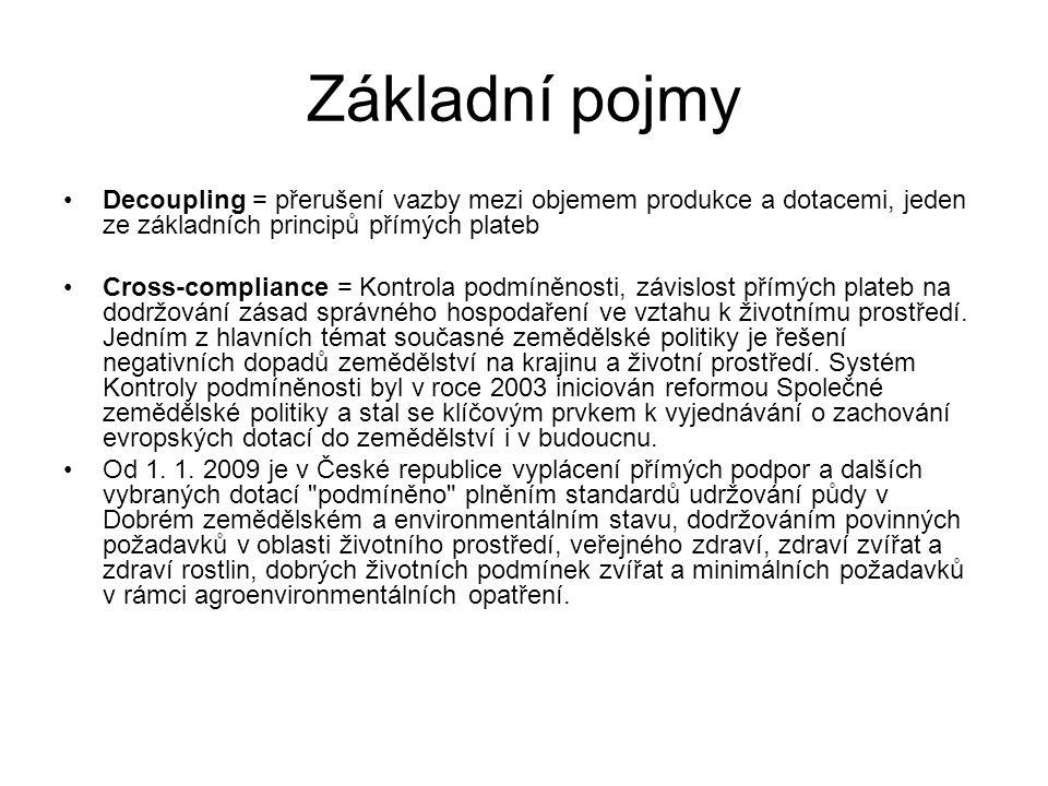 Základní pojmy Decoupling = přerušení vazby mezi objemem produkce a dotacemi, jeden ze základních principů přímých plateb Cross-compliance = Kontrola