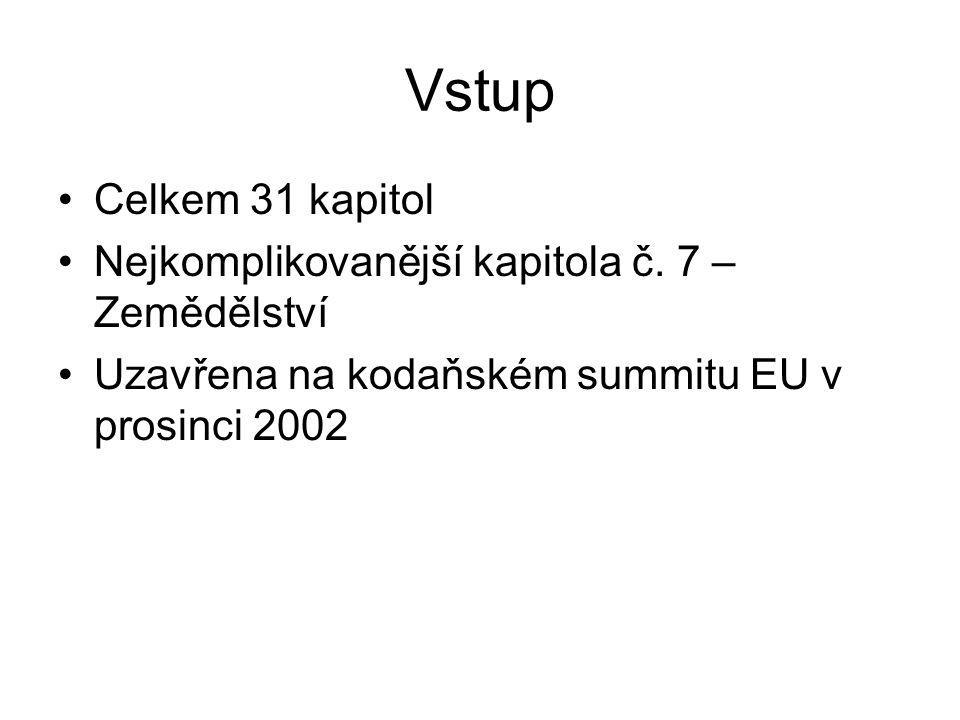 Vstup Celkem 31 kapitol Nejkomplikovanější kapitola č. 7 – Zemědělství Uzavřena na kodaňském summitu EU v prosinci 2002
