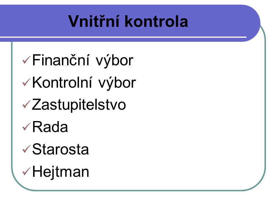 Vnitřní kontrola Finanční výbor Kontrolní výbor Zastupitelstvo Rada Starosta Hejtman