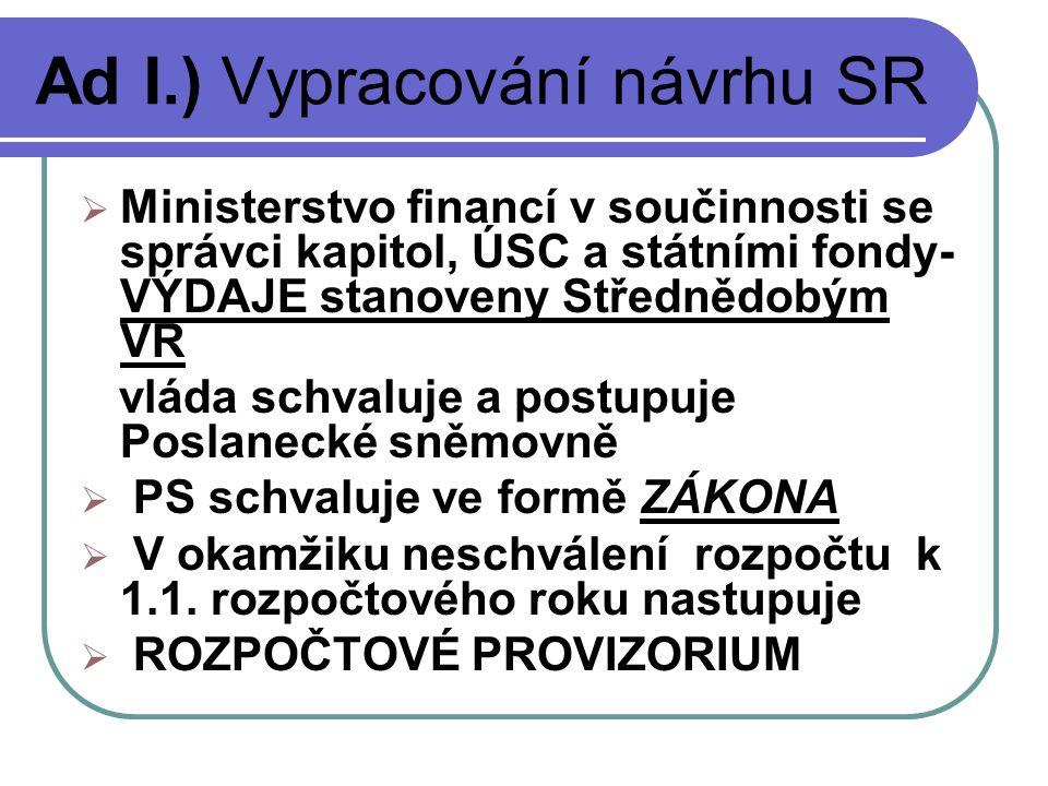 Ad I.) Vypracování návrhu SR  Ministerstvo financí v součinnosti se správci kapitol, ÚSC a státními fondy- VÝDAJE stanoveny Střednědobým VR vláda schvaluje a postupuje Poslanecké sněmovně  PS schvaluje ve formě ZÁKONA  V okamžiku neschválení rozpočtu k 1.1.