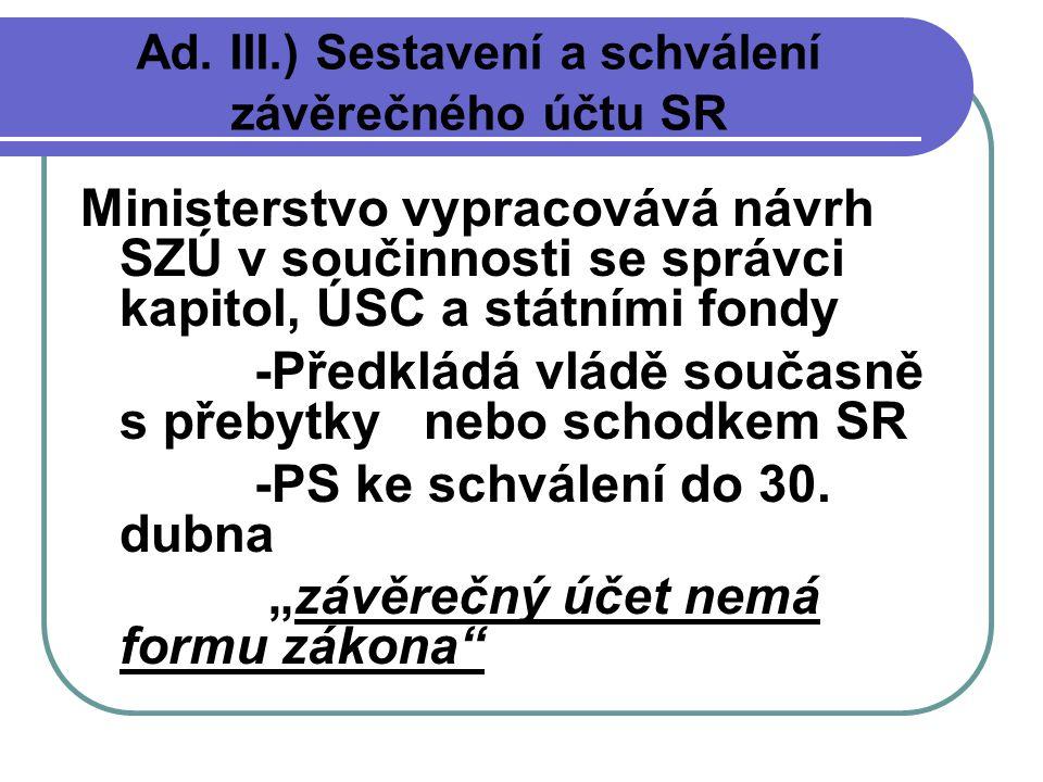 Státní závěrečný účet = údaje o výsledcích rozpočtového hospodaření minulého roku Součástí návrhu SZÚ jsou závěrečné účty kapitol, které jsou předkládány Poslanecké sněmovně