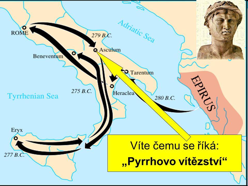 """válka s Řeky město Tarent si pozvalo na pomoc épeirského krále Pyrrha dvakrát poráží Římany Víte čemu se říká: """"Pyrrhovo vítězství"""""""