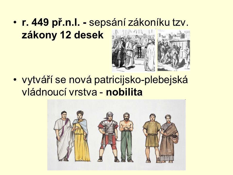 r. 449 př.n.l. - sepsání zákoníku tzv. zákony 12 desek vytváří se nová patricijsko-plebejská vládnoucí vrstva - nobilita