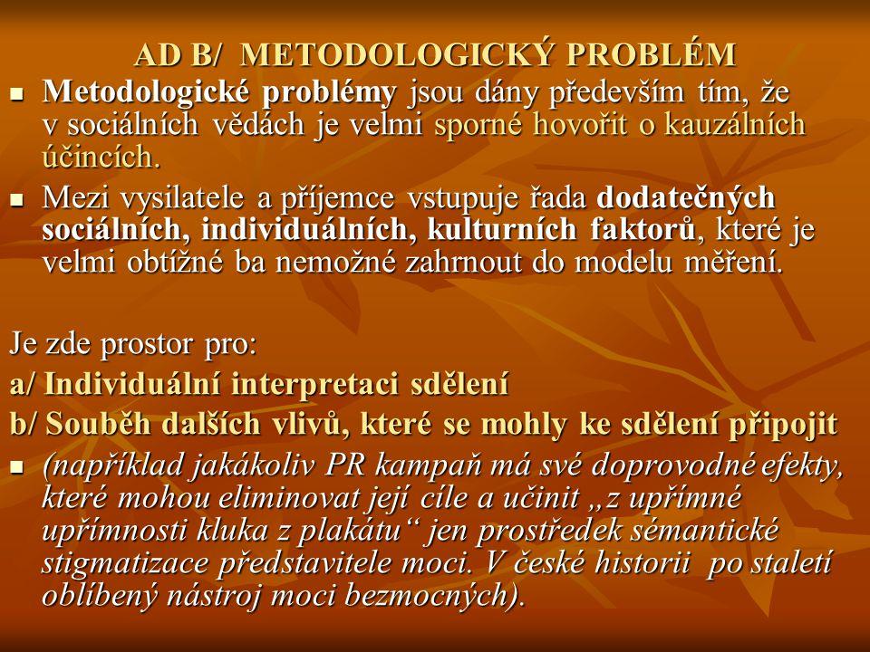 AD B/ METODOLOGICKÝ PROBLÉM Metodologické problémy jsou dány především tím, že v sociálních vědách je velmi sporné hovořit o kauzálních účincích. Meto