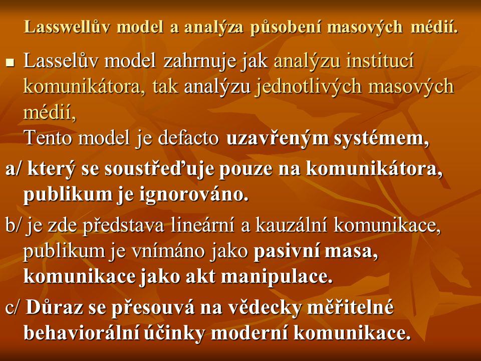 Lasswellův model a analýza působení masových médií. Lasselův model zahrnuje jak analýzu institucí komunikátora, tak analýzu jednotlivých masových médi
