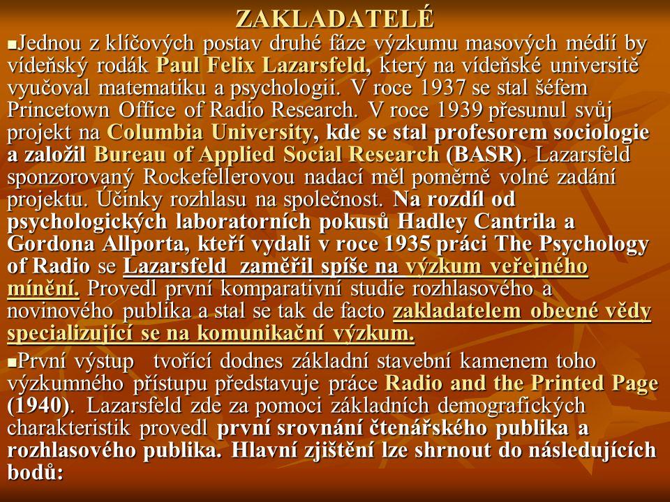 ZAKLADATELÉ Jednou z klíčových postav druhé fáze výzkumu masových médií by vídeňský rodák Paul Felix Lazarsfeld, který na vídeňské universitě vyučoval matematiku a psychologii.
