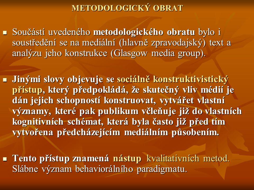 METODOLOGICKÝ OBRAT Součástí uvedeného metodologického obratu bylo i soustředění se na mediální (hlavně zpravodajský) text a analýzu jeho konstrukce (Glasgow media group).