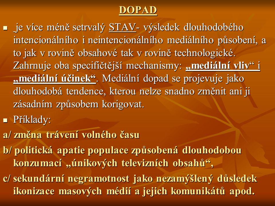 DOPAD je více méně setrvalý STAV- výsledek dlouhodobého intencionálního i neintencionálního mediálního působení, a to jak v rovině obsahové tak v rovi