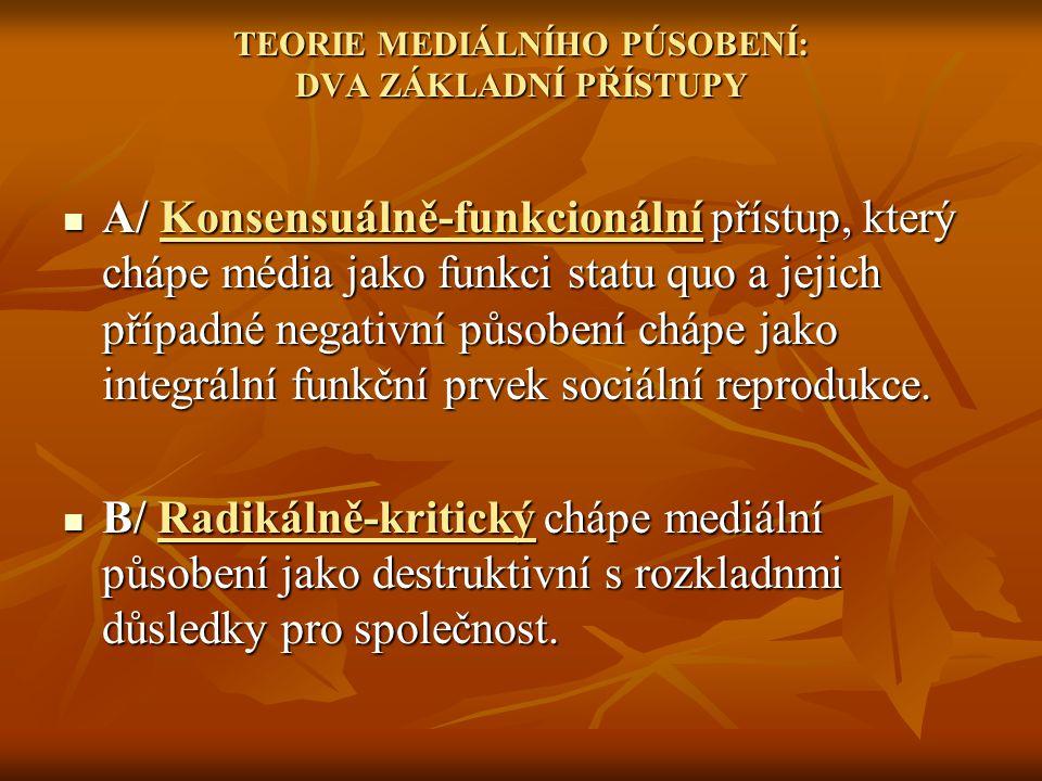 TEORIE MEDIÁLNÍHO PÚSOBENÍ: DVA ZÁKLADNÍ PŘÍSTUPY A/ Konsensuálně-funkcionální přístup, který chápe média jako funkci statu quo a jejich případné nega