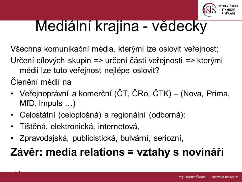 Všechna komunikační média, kterými lze oslovit veřejnost; Určení cílových skupin => určení části veřejnosti => kterými médii lze tuto veřejnost nejlép